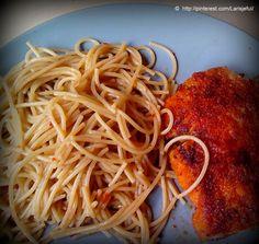 Volkoren capellini, varkensschnitzel en loempiasaus (eventueel met wokgroenten)