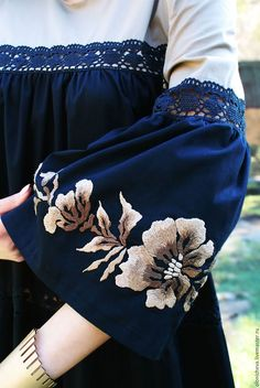 """Exclusive long dress with embroidery and lace """"is a Delight"""" – shop online on Livemaster with shipping - Kurta Designs, Kurti Designs Party Wear, Blouse Designs, Iranian Women Fashion, Pakistani Fashion Casual, Pakistani Dress Design, Frock Fashion, Abaya Fashion, Fashion Dresses"""
