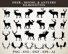 Vector & PNG files for design & cut files EPS, SVG, DXF autor seaquintdesign Silhouette Clip Art, Animal Silhouette, Deer Silhouette Printable, Moose Silhouette, Mermaid Silhouette, Silhouette Machine, You Draw, How To Draw Hands, Moose Tattoo