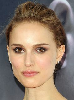 Natalie Portman's Low Bun Updo Hairstyle (front view)