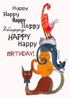 """101 Funny Cat Birthday Memes for the Feline Lovers in Your Life - 101 Funny Cat Birthday Memes – """"Happy happy happy happy happy happy happy birthday!"""