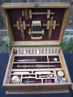 Our Vampire Kit is unique. Victorian Era Antique Reproduction, solid oak, hand made, 4 Vampire Stakes, secret compartment and instructions. Secret Compartment, Vampire Hunter, Wooden Case, Reproduction, Dungeons And Dragons, Witchcraft, Just In Case, Creepy, Scary