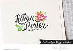 premade logo design watercolor flower logo by MadameLevasseur