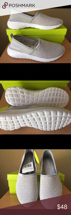 Adidas Slip On Neo Lite Racer Sz 7.5 NWT Adidas NEO.  Cloudfoam memory footbed.  Lite Racer.  Gray White.  Breathable upper.  Slip-on Style.  No box.  Tag attached.  Please feel free to contact me if you need more detailed information/ photo. Thank you for looking at this item.   adidas Shoes Athletic Shoes