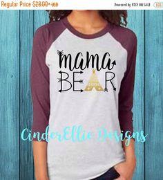Black Friday Sale Raglan Mama Bear Shirt New by CinderEllieDesigns