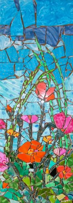 Mosaic made with my hand painted tiles the inspiration came from a photograph I… Mosaic Wall Art, Tile Art, Mosaic Glass, Mosaic Tiles, Glass Art, Stained Glass, Mosaic Mirrors, Sea Glass, Mosaic Crafts