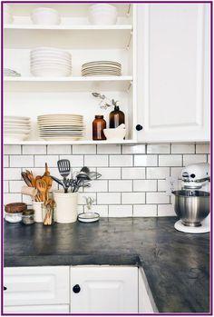 Home Interior Boho concrete kitchen countertop ideas.Home Interior Boho concrete kitchen countertop ideas Kitchen Shelves, Kitchen Tiles, Diy Kitchen, Kitchen Decor, Kitchen Cabinets, Kitchen Counters, Awesome Kitchen, Kitchen Interior, Oak Cabinets
