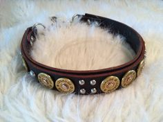 12 Gauge Shotgun Shell leather dog collar  MADE by TheStripedPony, $69.95