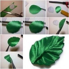 How to make ribbon leaf step by step diy tutorial instructions thumb how to how to make step by step picture tutorials diy instruction by mary smith fsesz Satin Ribbon Roses, Ribbon Art, Diy Ribbon, Fabric Ribbon, Ribbon Crafts, Flower Crafts, Diy Crafts, Ribbon Embroidery Tutorial, Ribbon Flower Tutorial