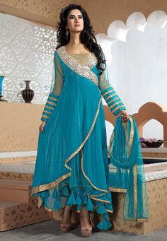 Teal Blue Faux Georgette Abaya Churidar Kameez: KCR4651