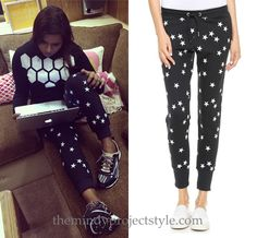 Mindy mixes monochromatic prints in this cozy look from filming The Mindy Project yesterday. Zoe Karssen Slim Fit Stars Sweatpants - $145 (grey, also blue here) Worn with Trina Turk sweater and Stella McCartney for Adidas sneakers