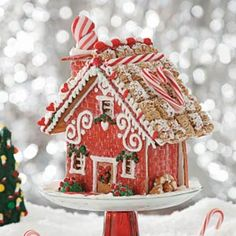 "5 Star ""Home Sweet Home"" Gingerbread Cottage Recipe -I love to see the end of a project, like this Christmas cottage—but my favorite part is the process. It's fun to watch the gingerbread, icing and candy decorations come together creatively. Christmas Goodies, Christmas Baking, Christmas Treats, Christmas Time, Xmas, Christmas 2017, Christmas Gingerbread House, Gingerbread Cookies, Gingerbread Man"