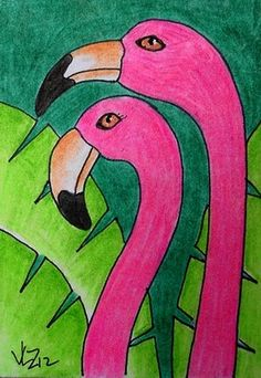 FLAMINGO COUPLE ACEO ON EBAY  Refer to flamingo project I did before with 2nd graders.