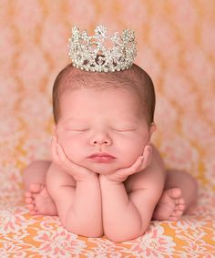 The Tiny Blessings Boutique Silver Crystal Mini Crown // rhinestone newborn photography inspiration fit for a little princess // photo props for baby