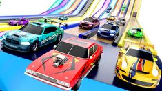 Colors for Children to Learning with Sports Cars Racing on Hot Wheels Co...