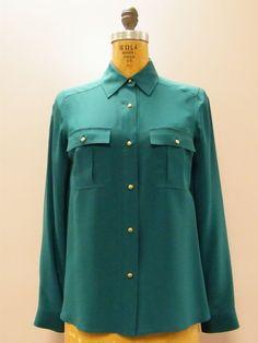 *GORGEOUS* Jungle Emerald Green MARC JACOBS Silk Blouse Size 2 XS RETAIL $300 #MarcJacobs #Blouse