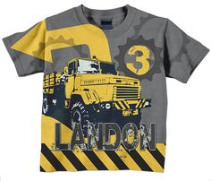 Boys Construction Shirt, Personalized Birthday Dump Truck Number T-Shirt on Etsy, $24.95