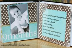 Milestone scrapbook.  Cute idea for the first year or two!