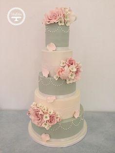 Blush pink, sage green and ivory wedding cake