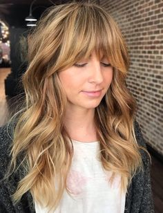 60 Lovely Long Shag Haircuts for Effortless Stylish Looks Honey Bronde Shaggy Hairstyle with Bangs Long Fringe Hairstyles, Straight Hairstyles, Stylish Hairstyles, Medium Hairstyles With Bangs, Barber Hairstyles, 90s Hairstyles, Popular Hairstyles, African Hairstyles, Medium Hair Styles