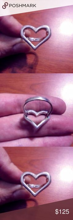LOVING RING sterling silver Size 7.5 heart love Stunning  chunky, sterling silver large heart outline ring. Use as a promse ring or simply to remind yourself of how much you love you! *Offers warmly welcomed! *Offers warmly welcomed! Vintage Jewelry Rings