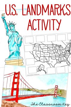 U.S. landmarks lesson and map activity ($) NO PREP, share a PowerPoint with hand painted images and information about landmarks across the United States. Then students cut and glue landmark pictures to a U.S. map, fun at the end of the year, during summer school, or any time for social studies