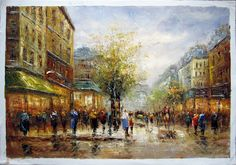 "24"" by 36"" - Paris scene - Nr.42 - Museum Quality Oil Painting on Canvas Art by Artseasy"