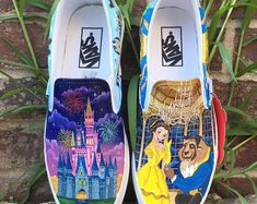 Etsy :: Your place to buy and sell all things handmade Disney Vans, Disney Shoes, Disney Clothes, Disney Painted Shoes, Cute Disney Outfits, Custom Vans Shoes, Cute Vans, Shoes Wallpaper, Vans Checkerboard
