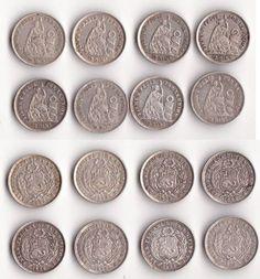 Lote de monedas plata de 1/2 Dino 1863 y 1864 - Primer año Perú.