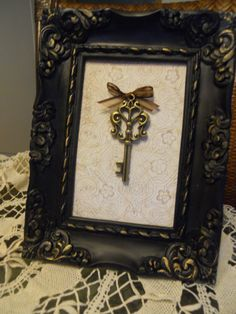 Vintage Distressed Black and Gold Carved Frame Skeleton Key art Table Top or Wall