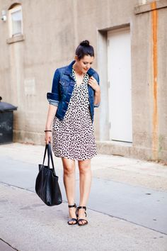 black and white leopard spot shift dress, denim jacket Denim Jacket With Dress, Jacket Dress, Casual Outfits, Fashion Outfits, Work Outfits, Summer Outfits, Camo Dress, Denim Outfit, Style