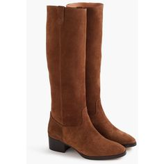 J.Crew Suede Knee Boots With Tabs ($295) ❤ liked on Polyvore featuring shoes, boots, suede leather boots, j crew boots, fake boots, faux-fur boots and suede knee-high boots