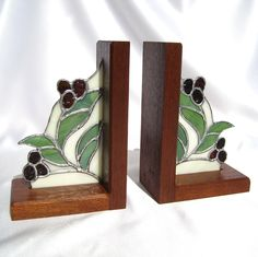 Bookends with stained glass berries