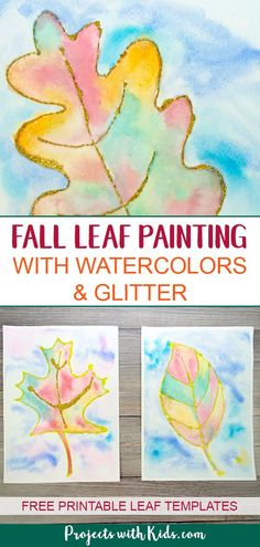 This fall leaf painting with glitter is a beautiful and colorful way to bring autumn colors indoors. Kids will love exploring painting with watercolors and creating their own unique fall paintings! Click through to grab your free leaf templates. Autumn Leaves Craft, Autumn Art, Autumn Theme, Autumn Ideas, Fall Arts And Crafts, Fall Crafts For Kids, Harvest Crafts For Kids, Autumn Crafts, Kid Crafts