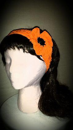 Crocheted Flower Poppy headband