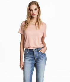 Check this out! Short-sleeved top in linen jersey with a scoop neckline and rounded hem. - Visit hm.com to see more.