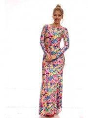 Colorful Floral Print Dress Long Sleeve Maxi Dress Longuette