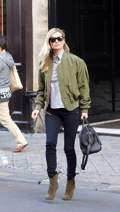 Kate Moss in LV 2 Sided bomber jacket