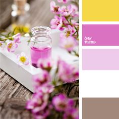 The combination of sunny yellow, fuchsia and white is gently complemented with pale lilac and neutral brown. This palette is good for holiday decoration of wedding or anniversary premises. This color combination can be used to design a spacious bright living room or a studio of a country house.