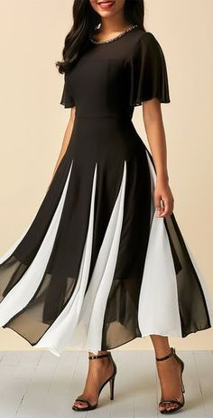 ZHI Elegant Chiffon Patchwork Slim Short Sleeve Mid-Long Dresses is cheap sale on newchic, pick chiffion dresses and show your beauty now. Dress Outfits, Fashion Dresses, Dress Up, Dress Clothes, Swing Dress, Hot Dress, Dresses For Sale, Dresses Online, Long Dresses