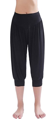 c89d1c9ad HOEREV Women s Super Soft Modal Spandex Harem Yoga Pilates Capri Pants Black  Medium Super soft Comfort and style Suitable for your indoor or outdoor ...