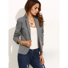 SheIn(sheinside) Grey Lapel Long Sleeve Blazer ($22) ❤ liked on Polyvore featuring outerwear, jackets, blazers, fitted blazer jacket, lapel jacket, fitted blazers, single button blazer and one button blazer