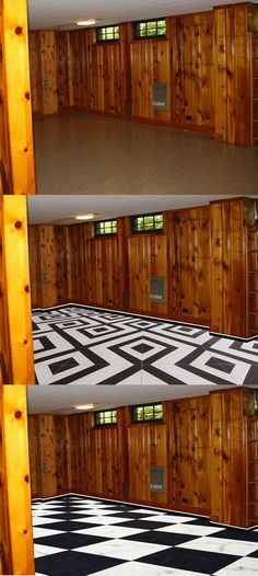 When every wall is covered in knotty pine and you can't touch it... embrace it! Brainstorming floor ideas and hopefully getting my landlord's blessing to get rid of the green carpet. Pic taken from google.