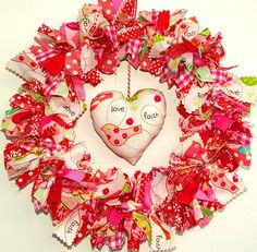 """A fabric wreath filled with inspirational birds and messages including """"love"""", """"faith"""", """"support"""" and """"family"""". Perfect for Valentine or the rest of the year. Valentine Day Wreaths, Valentine Day Crafts, Valentine Decorations, Holiday Wreaths, Holiday Crafts, Valentine Ideas, Thanksgiving Holiday, Christmas, My Funny Valentine"""