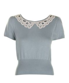 Take a look at this Powder Blue Lace Collar Christina Top by Darling on #zulily today!