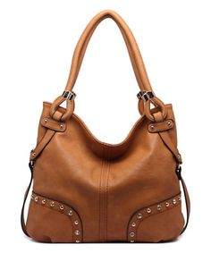 Another great find on #zulily! Brown Embellished Hobo #zulilyfinds