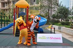 Winnie The Pooh, Tigger, Eeyore, Pink Pig Mascot Costume sold at competitive price on  MascotShows.com , see our lively video at http://www.youtube.com/mascotshows