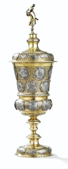 A LARGE GERMAN STANDING SILVER-GILT CUP AND COVER MÜNZBECHER, JOHANN MICHAEL WECKER, DRESDEN, 1725