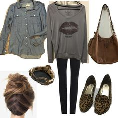 Outfit for Travel. Girls shopping weekend out of town 2 days. Need two looks please!. Normal weather. Use my clothes.
