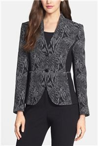 Santorelli - Matelasse Jacquard & Ponte Jacket: . The use of black and white in this jacquard pattern is perfectly balanced with stretchy solid black ponte inserts on the sides – adding comfort to help with any long day at the office.